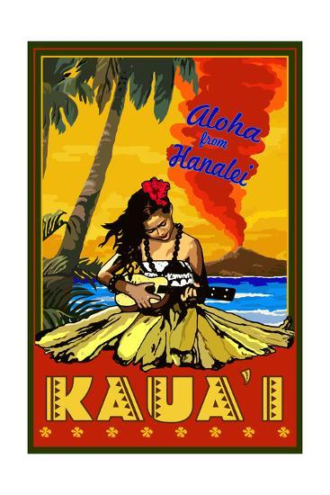 Kauai, Hawaii - Aloha from Hanalei - Hula Girl and Ukulele-Lantern Press-Art Print