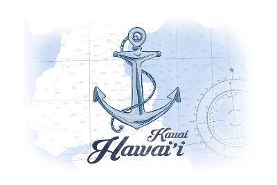 Kauai, Hawaii - Anchor - Blue - Coastal Icon-Lantern Press-Art Print