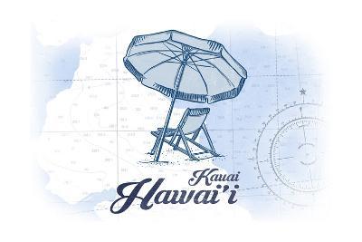 Kauai, Hawaii - Beach Chair and Umbrella - Blue - Coastal Icon-Lantern Press-Art Print