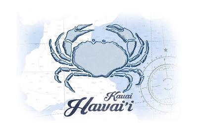 Kauai, Hawaii - Crab - Blue - Coastal Icon-Lantern Press-Art Print