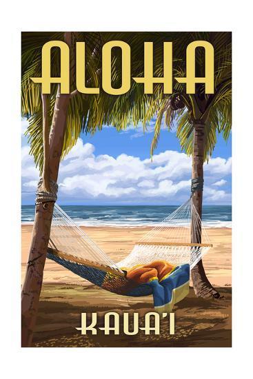 Kauai, Hawaii - Hammock Scene-Lantern Press-Art Print