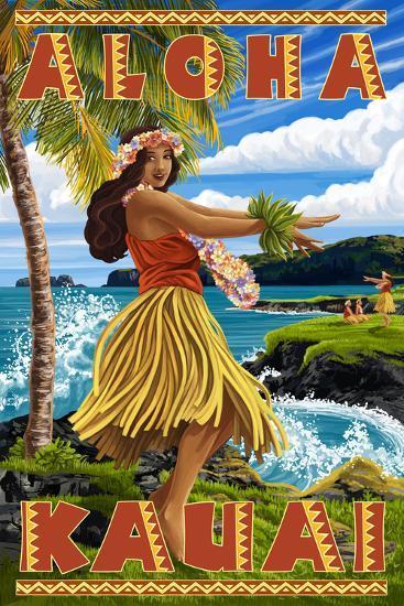 Kauai, Hawaii - Hula Girl on Coast-Lantern Press-Wall Mural