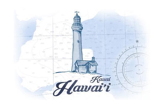 Kauai, Hawaii - Lighthouse - Blue - Coastal Icon-Lantern Press-Art Print