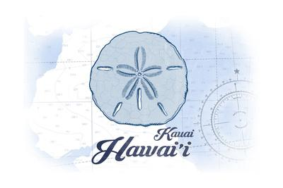 Kauai, Hawaii - Sand Dollar - Blue - Coastal Icon-Lantern Press-Art Print
