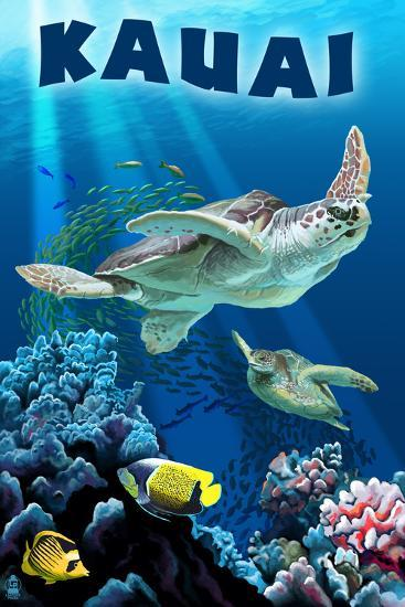 Kauai, Hawaii - Sea Turtle Swimming-Lantern Press-Art Print