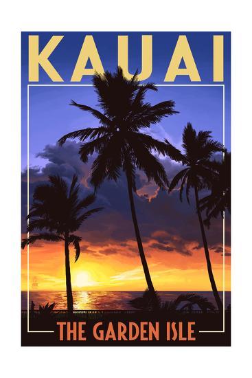 Kauai, Hawaii - the Garden Isle - Palms and Sunset-Lantern Press-Art Print