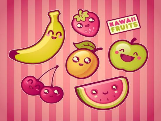 Kawaii Smiling Fruits- diarom-Premium Giclee Print