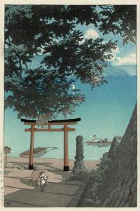 Chuzenji Temple at Utagahama - Tori Gate and Ferry by Kawase Hasui