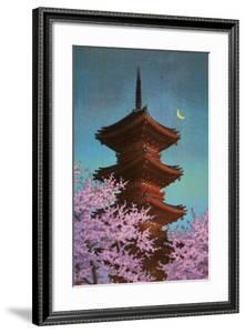 Pagoda in Moonlight by Kawase Hasui