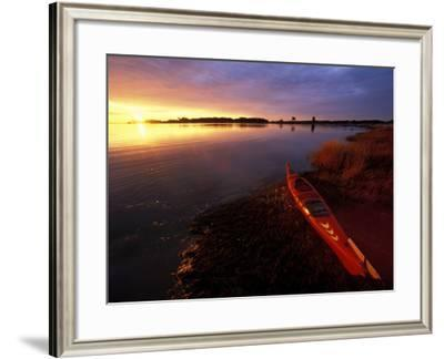 Kayak and Sunrise in Little Harbor in Rye, New Hampshire, USA-Jerry & Marcy Monkman-Framed Photographic Print