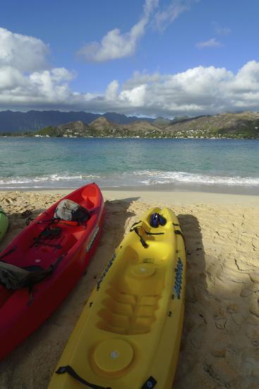 Kayak, Mokulua Island, Lanikai, Kailua, Oahu, Hawaii, USA-Douglas Peebles-Photographic Print