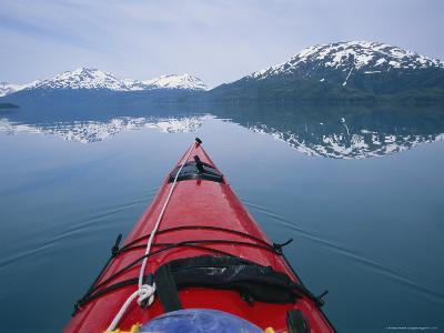 Kayak Plies Calm Waters Where Mountains Seem to Meet the Water-Bill Hatcher-Photographic Print