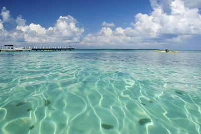 Kayaker in Blue Waters, Southwater Cay, Belize-Cindy Miller Hopkins-Photographic Print