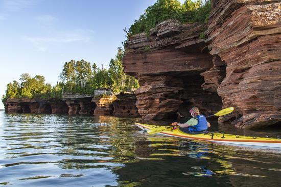 Kayaker in Sea Caves, Devils Island, Apostle Islands National Lakeshore, Wisconsin, USA-Chuck Haney-Photographic Print