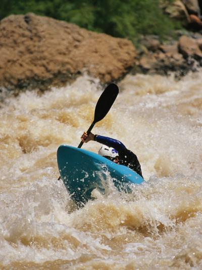 Kayaker Paddles Through Colorado River Rapids-Mark Cosslett-Photographic Print