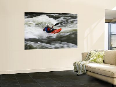 Kayaker Plays in a Hole in Tariffville Gorge, Farmington River in Tariffville, Connecticut, USA-Jerry & Marcy Monkman-Wall Mural