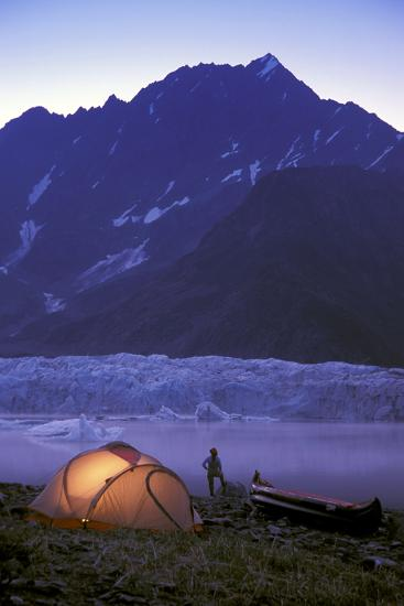 Kayaker Tent Camping at Dusk Pederson Glacier - Nkenai Fjords Np Kp Ak-Design Pics Inc-Photographic Print