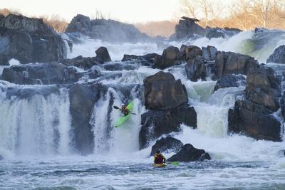 Kayakers Running Great Falls of the Potomac River-Skip Brown-Photographic Print