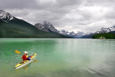 Kayaking in Banff National Park, Canada- oksana perkins-Photographic Print