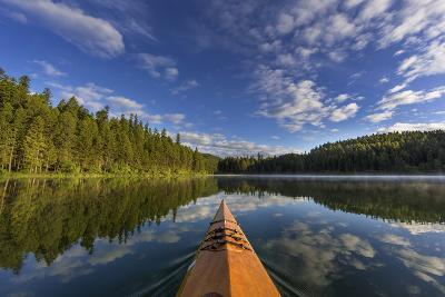 Kayaking on Beaver Lake in the Stillwater State Forest Near Whitefish, Montana, Usa-Chuck Haney-Photographic Print