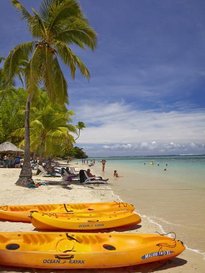 Kayaks and Beach, Shangri-La Fijian Resort, Yanuca Island, Coral Coast, Viti Levu, Fiji-David Wall-Photographic Print