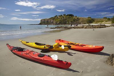Kayaks, Doctors Point, Mapoutahi Pa, Maori Pa Site, South Island, New Zealand-David Wall-Photographic Print