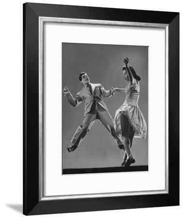 Kaye Popp and Stanley Catron Demonstrating a Step of the Lindy Hop-Gjon Mili-Framed Premium Photographic Print