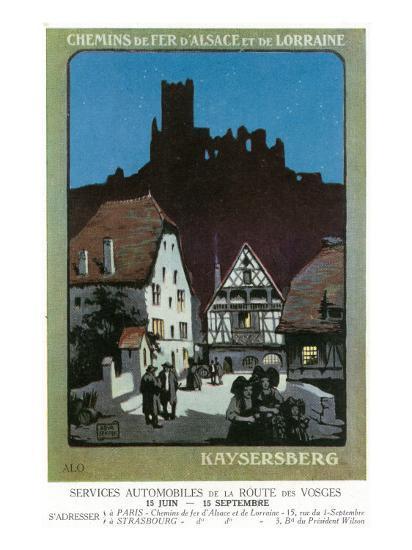 Kaysersberg, France - Scenic View of Town, Alsace and Lorraine Railway Postcard, c.1920-Lantern Press-Art Print