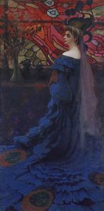 Woman at the Window (The Peacock). Portrait of Zofia Borucinska, 1908 by Kazimierz Stabrowski