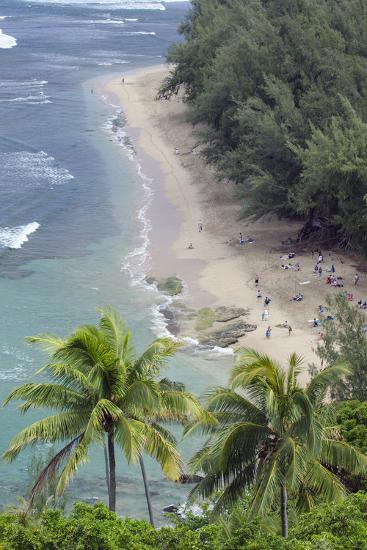Ke'E Beach from the Kalalau Trail on the Na Pali Coast of Kauai, Hawaii-Rich Reid-Photographic Print