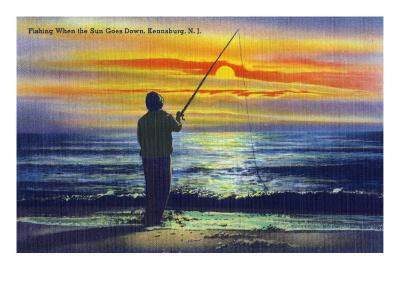 Keansburg, New Jersey - View of a Fisherman Fishing on the Shore During a Sunset, c.1937-Lantern Press-Art Print