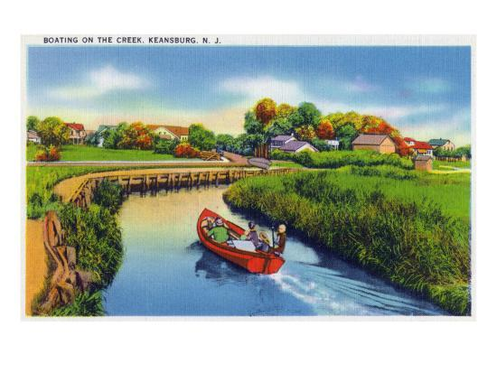 Keansburg, New Jersey - View of People Boating on the Creek, c.1937-Lantern Press-Art Print