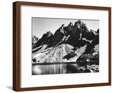"""""""Kearsarge Pinnacles,"""" Partially Snow-Covered Rocky Formations Along the Edge of the River-Ansel Adams-Framed Premium Photographic Print"""