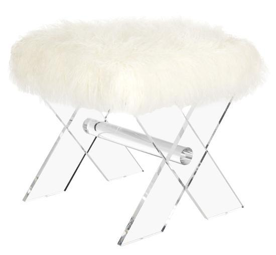 Keely Sheepskin X-Bench--Home Accessories