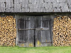 Barn Door Surrounded by Firewood Stacks by Keenpress