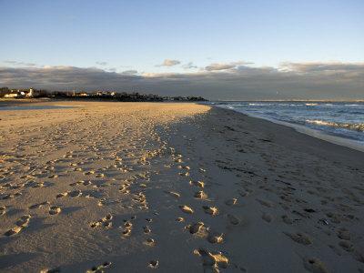 Cape Cod Foot Prints on Sandy Beach in Chatham, Massachusetts