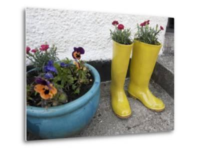 Ceramic Yellow Boots Function as Planter, Inner Hebrides