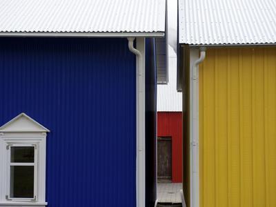 Colorful Wooden Buldings in Icelandic Fishing Village