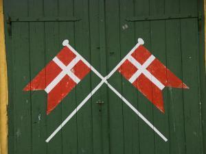 Denmark, Dannebrog, Danish Flag on the Doors of Rescue Station by Keenpress