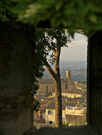 San Gimignano, Tuscany, Italy- View of Town Seen Through a Window