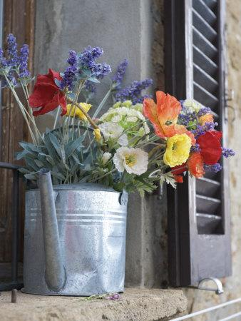 Water Pitcher Holding Flowers Standing in a Windowsill