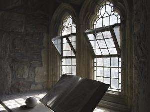 Windowsill with Book of Scripture in the Iona Abbey, Gothic Window by Keenpress