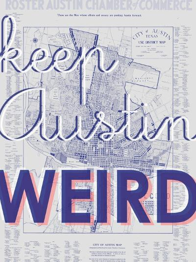 Keep Austin Weird - 1939, Austin Chamber of Commerce, Texas, United States Map--Giclee Print