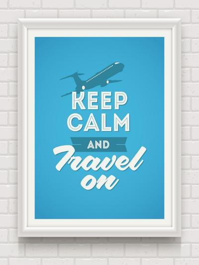 Keep Calm and Travel on - Poster with Quote in White Frame on a White Brick Wall - Vector Illustrat-vso-Art Print