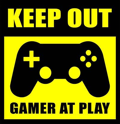 Keep Out Gamers At Play-Color Me Happy-Art Print