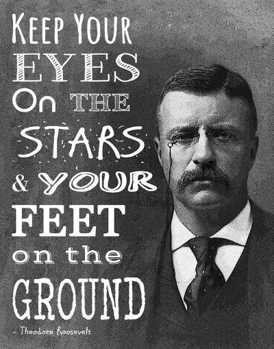 Keep Your Eyes On the Stars and Your Feet On the Ground - Theodore Roosevelt-Veruca Salt-Art Print