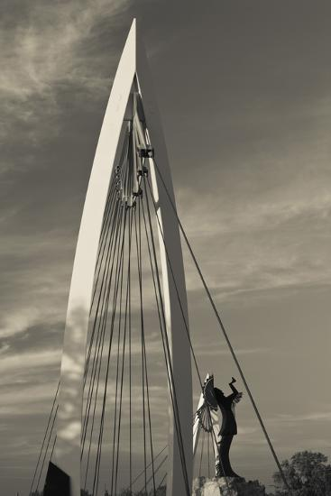 Keeper of the Plains Footbridge, Arkansas River, Wichita, Kansas, USA-Walter Bibikow-Photographic Print