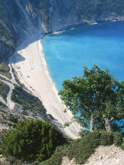 Kefalonia, View South from Cliff Tops Over White-Pebbled Beach at Myrtos-Ian West-Photographic Print