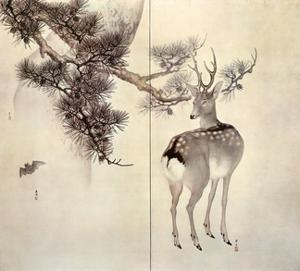 Deer Pine and Bat by Keibun & Toyo Toyohiko