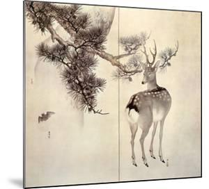 Deer Pine and Bat by Keibun & Toyo Toyohiko